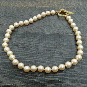 Gucci Gold Plated Faux Pearl Toggle Necklace